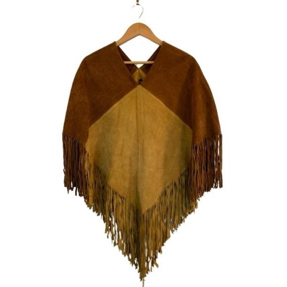 Vintage leather fringed poncho